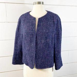 Lafayette 148 Blue Purple Tweed LS Blazer Jacket